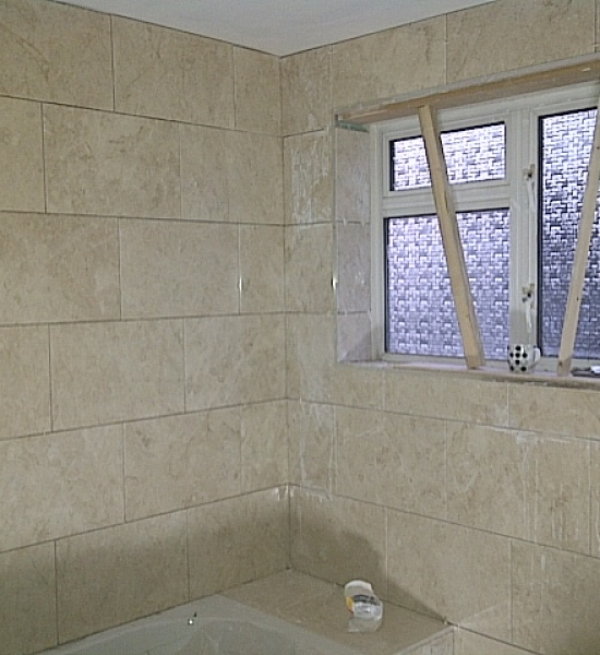 Walls are tiled ready for grouting