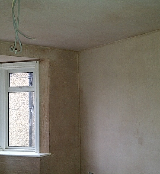 All walls and plasterboarded ceiling plastered