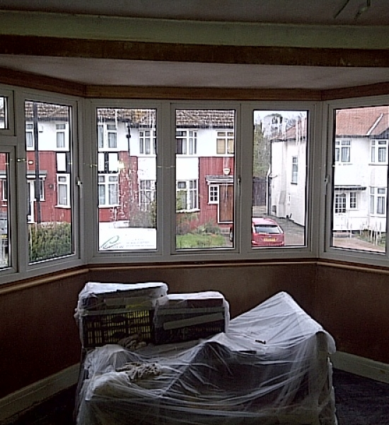 Plastering around bay window