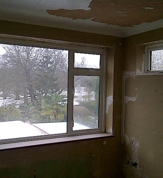All walls and cielling stripped and prepared ready for plaster