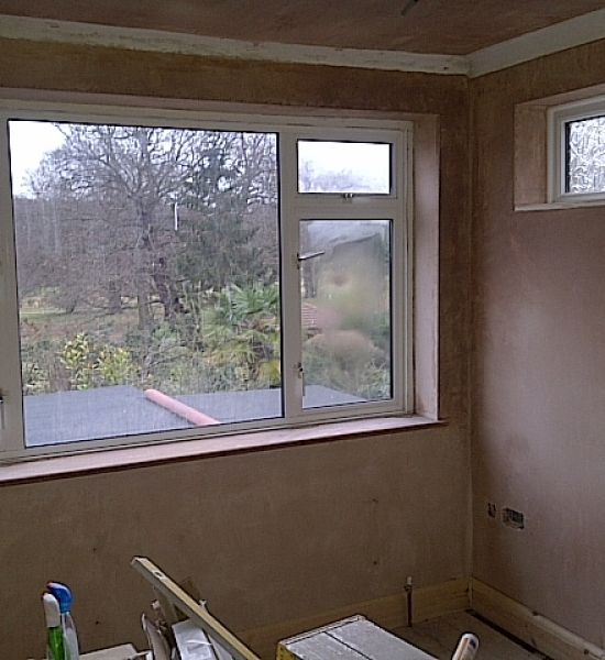 Plastered room